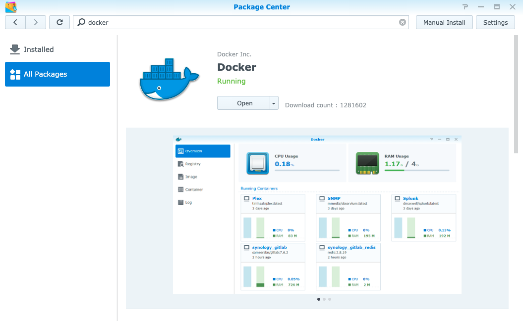 Docker Detail Page in Synology Marketplace after Installation